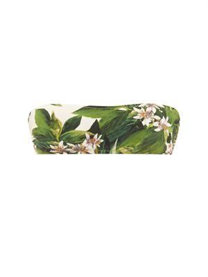 Lemon blossom-print bandeau bikini top