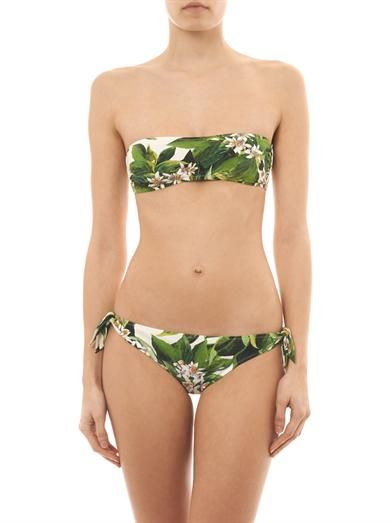 Dolce & Gabbana Lemon blossom-print bandeau bikini top