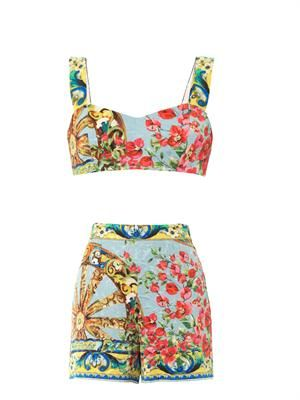 Floral-brocade top and shorts set