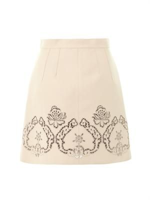 Laser-cut leather skirt