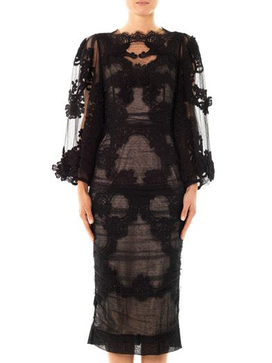 Dolce & Gabbana Flower embroidered balloon-sleeve dress