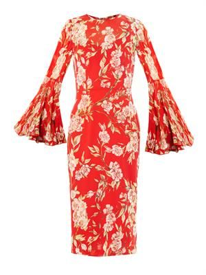 Rose-print silk-chiffon dress