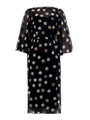 Coin-print silk-chiffon dress