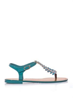 Crystal-embellished rubber sandals