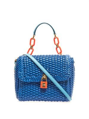 Basketweave leather shoulder bag