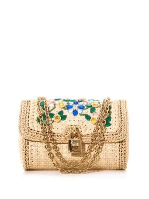 Crystal and raffia shoulder bag