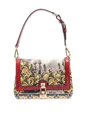 Temple brocade shoulder bag