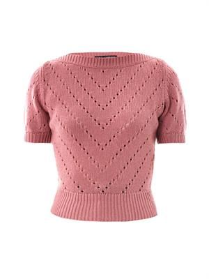 Cashmere perforated knit sweater
