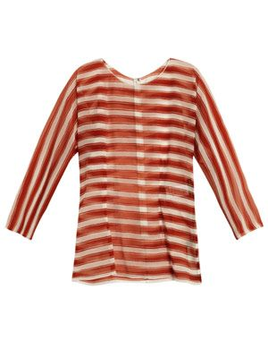 Striped silk-organza top