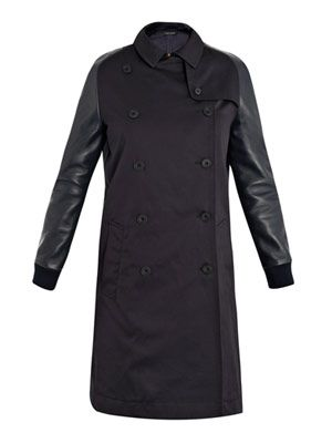 Leather-sleeve trench coat
