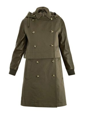 Leather sleeve hooded trench coat