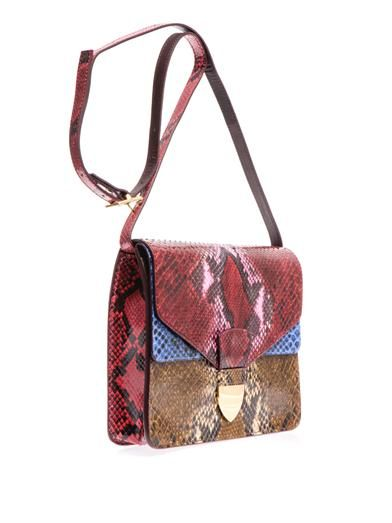 Sophie Hulme Spear tab python cross-body bag