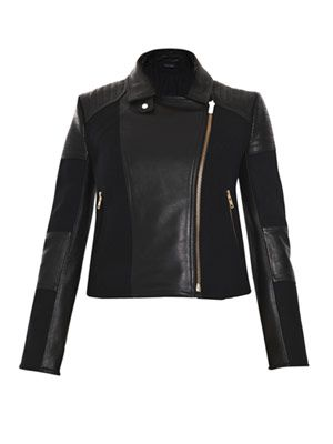 Leather and canvas biker jacket