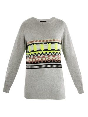 Pineapple intarsia knit sweater