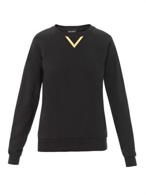 Gold-plate embellished cotton sweatshirt