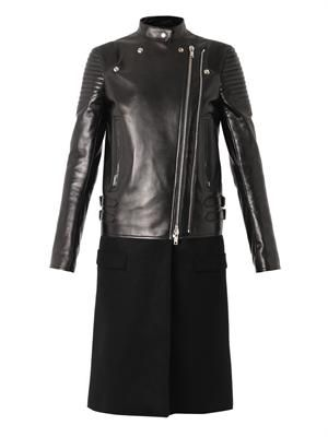 Leather and wool biker coat