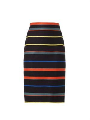 Striped tweed pencil skirt