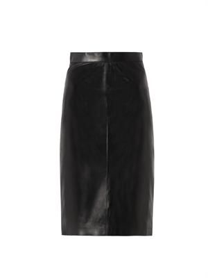 Zip-back leather pencil skirt