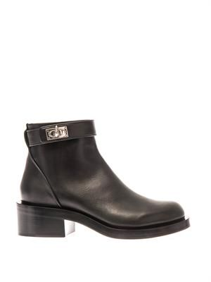 Shark-lock leather ankle boots