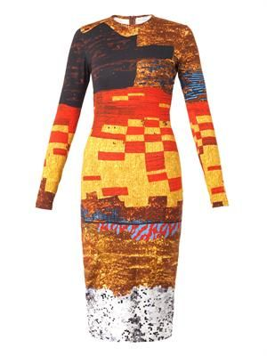 Pixelated mosaic-print jersey dress