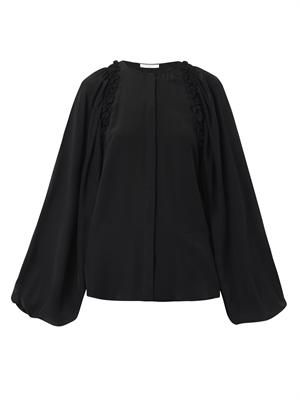 Balloon-sleeve ruffle-trim blouse