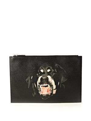Rottweiler-print clutch bag