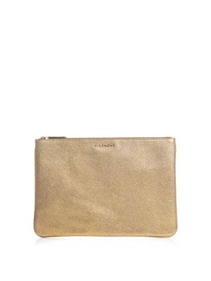 Metallic leather pouch bag