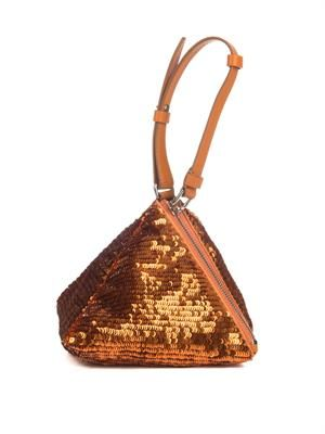 Pyramid sequin and leather clutch