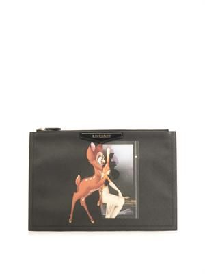 Antigona Bambi-print medium clutch