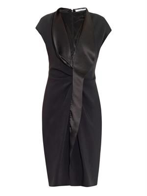 Satin-lapel stretch-cady dress