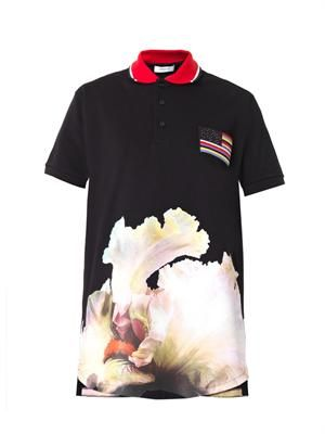 Orchid-print polo shirt