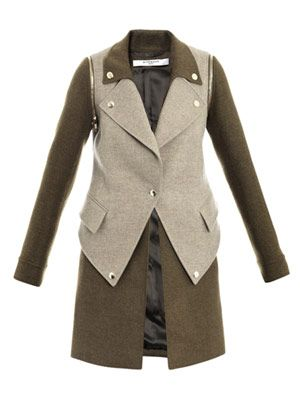 Bi-colour detachable-sleeve coat