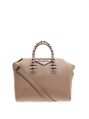 Antigona leather and snakeskin tote