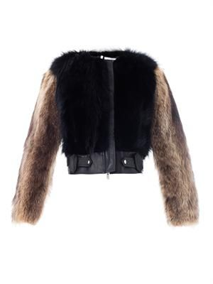 Contrast fur jacket
