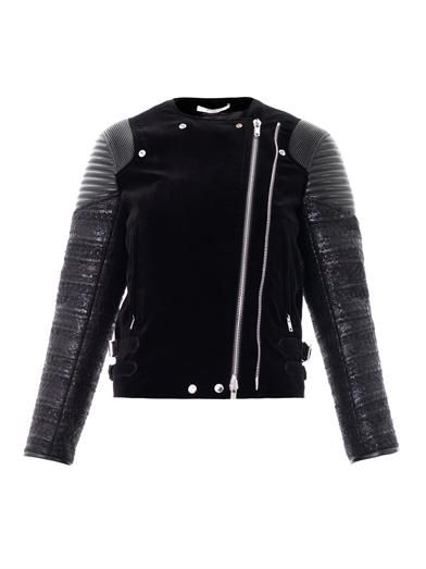 Givenchy Velvet, leather & tweed biker jacket