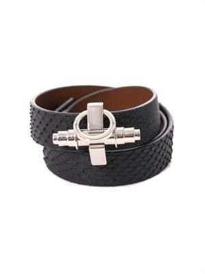 Triple-wrap shagreen and python bracelet