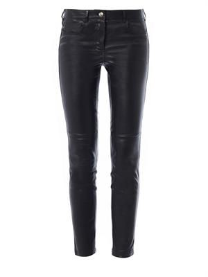 Cropped stretch-leather trousers
