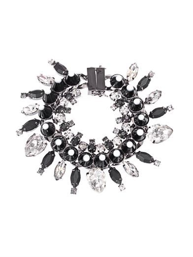 Givenchy Crystal, onyx and wood bracelet