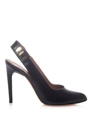 Shark's tooth-lock leather pumps