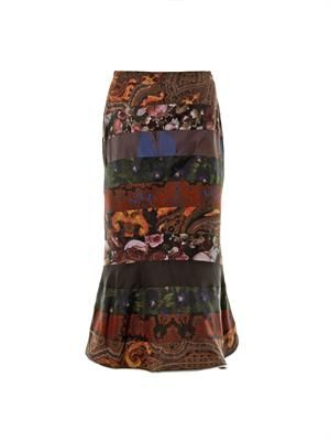 Multi-print flared skirt