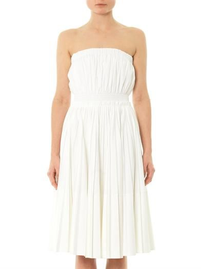 Givenchy Pleated cotton strapless bustier dress