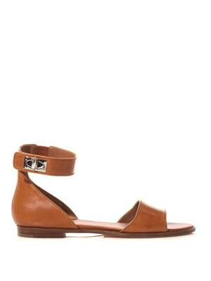 Shark's tooth-lock leather sandals