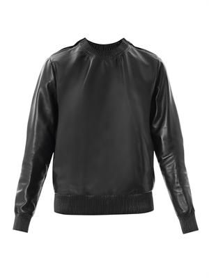 Zipped shoulder leather sweatshirt