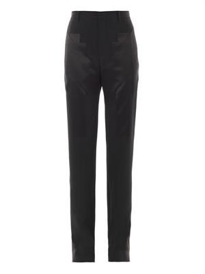 Satin and cady panelled trousers