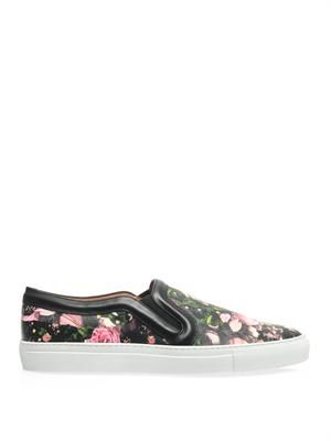 Floral camo-print slip-on trainers