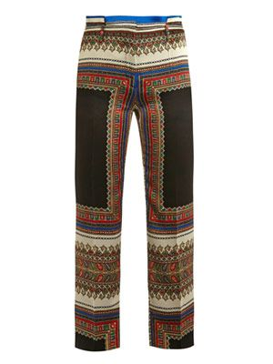 Scarf-print tailored trousers