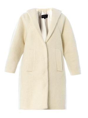 Collarless mohair-wool coat