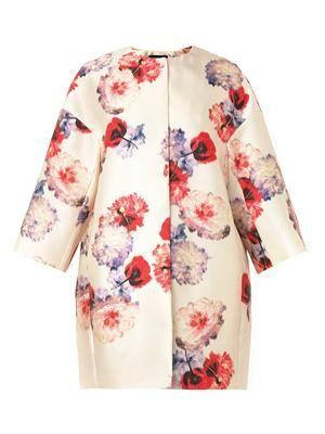 Peony-print duchess-satin coat