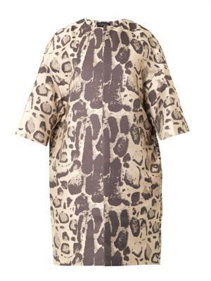 Leopard-jacquard coat