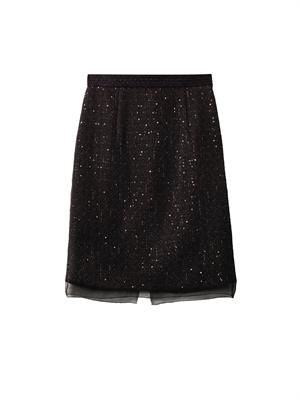 Sequined tweed pencil skirt